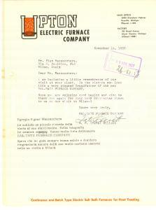 1957 ROSEVILLE (USA) UPTON Electric Furnace Company - Lettera su carta intestata