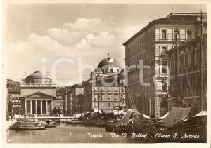 1940 ca TRIESTE Via Bellini e Chiesa di Sant'Antonio *Cartolina FG VG