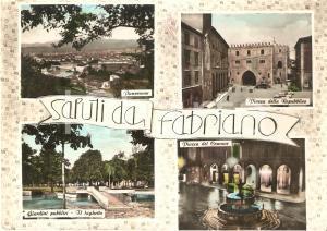 1959 FABRIANO (AN) Vedutine Laghetto Giardini Piazza del Comune *Cartolina FG NV