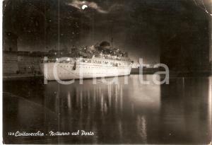 1950 ca CIVITAVECCHIA (RM) Nave SICILIA al Porto - Notturno *Cartolina FG VG