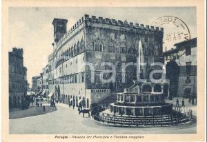 1948 PERUGIA Palazzo del Municipio e Fontana maggiore *Cartolina FG VG