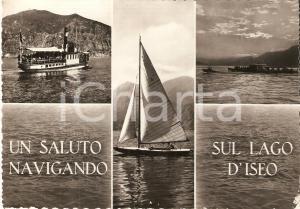 1958 LAGO D'ISEO (BG) Barca a vela e Battello SEBINO *Cartolina FG VG