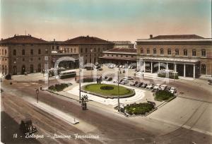 1950 ca BOLOGNA Trame e corriera davanti a stazione ferroviaria *Cartolina FG VG