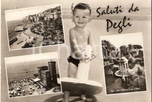 1950 ca GENOVA PEGLI Bambino con salvagente - Vedutine *Cartolina FG NV