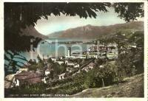 1950 ca LOVERE (BG) Panorama con Lago d'Iseo *Cartolina FG VG