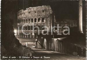 1955 ROMA Panorama notturno con Colosseo e Tempio di Venere *Cartolina FG VG