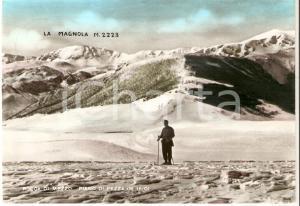 1951 ROCCA DI MEZZO (AQ) Sciatore al Piano di Pezza *Cartolina FG VG