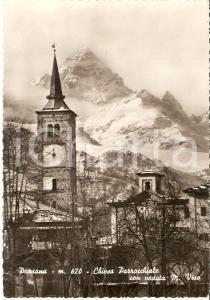 1954 PAESANA (CN) Chiesa parrocchiale e Monte Viso *Cartolina FG VG