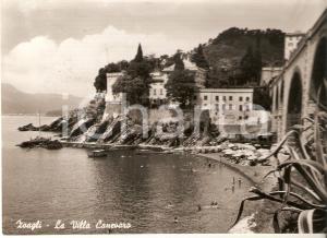 1950 ZOAGLI (GE) Villa Canevaro e stabilimento balneare *Cartolina FG VG