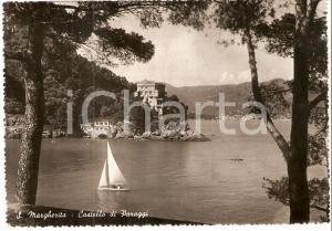 1953 SANTA MARGHERITA LIGURE (GE) Castello di Paraggi e barca *Cartolina FG VG