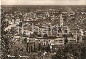 1955 VERONA Panorama della città con Fiume Adige *Cartolina FG VG