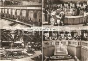1956 CASTELLAMMARE DI STABIA (NA) Vedutine delle terme ANIMATA *Cartolina FG VG