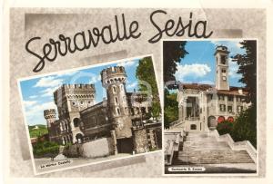 1951 SERRAVALLE SESIA (VC) Vedutine con Santuario Sant'Euseo *Cartolina FG VG