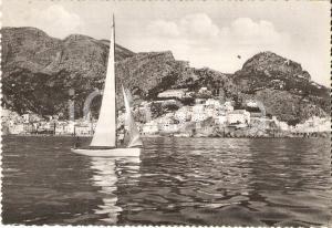 1966 AMALFI (NA) Panorama dal mare con barca a vela *Cartolina FG VG