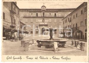 1937 CASTEL GANDOLFO (RM) Piazza Plebiscito e Palazzo Pontificio Cartolina FG VG