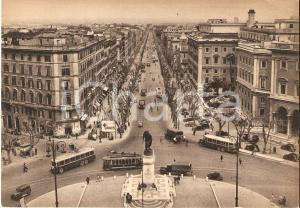 1940 ca ROMA Piazzale di Porta Pia e via Nomentana Insegna PIRELLI *Cartolina FG