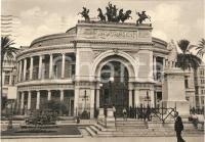 1955 PALERMO Bambini davanti al Teatro Politeama Garibaldi *Cartolina FG NV