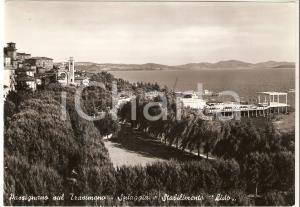 1960 ca PASSIGNANO SUL TRASIMENO (PG) Spiaggia e stabilimento Lido *Cartolina FG
