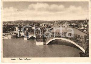1940 VERONA Panorama con Ponte Scaligero *Cartolina FG VG