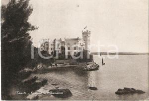 1951 TRIESTE Panorama con Castello di Miramare *Cartolina FG VG