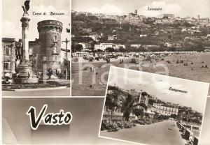 1960 ca VASTO (CH) Vedutine con Torre di Bassano e lungomare *Cartolina FG VG