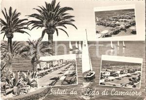 1955 ca LIDO DI CAMAIORE (LU) Vedutine con palme e barca a vela *Cartolina FG VG