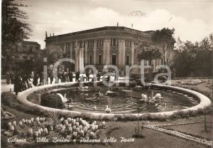 1954 CATANIA Mamme e bambini alla fontana di VILLA BELLINI *Cartolina FG VG
