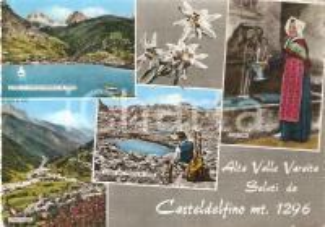 1961 CASTELDELFINO (CN) Vedutine con lago di PONTECHIANALE *Cartolina FG VG