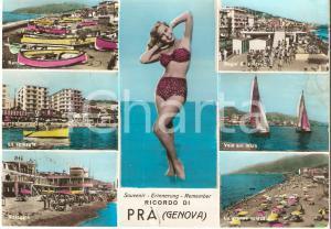 1967 GENOVA - PRA' Vedutine con PIN-UP in bikini *Cartolina DANNEGGIATA FG VG