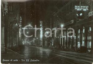 1952 GENOVA Insegne al neon in via XX Settembre Panorama notturno *Cartolina FG
