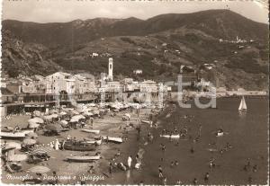 1952 MONEGLIA (GE) Suore e bambini sulla spiaggia *Cartolina FG VG
