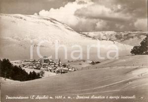 1952 PESCOCOSTANZO (AQ) Panorama del paese innevato *Cartolina FG VG