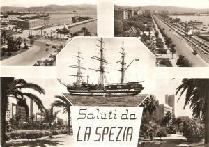 1964 LA SPEZIA Vedutine della città con veliero *Cartolina FG VG