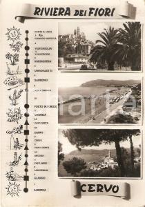 1955 ca CERVO (IM) Vedutine con città della RIVIERA DEI FIORI *Cartolina FG VG