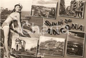 1958 ANCONA Vedutine con PIN-UP Corso Garibaldi PORTA PIA *Cartolina FG VG