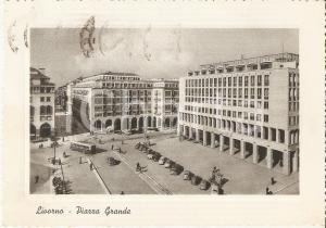 1957 LIVORNO Torpedone in Piazza Grande *Cartolina FG VG