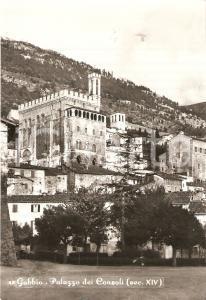 1960 GUBBIO (PG) Panorama con Palazzo dei Consoli *Cartolina FG VG