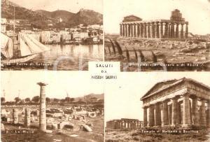 1952 PAESTUM Vedutine del sito archeologico Tempio di CERERE *Cartolina FG VG