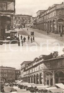 1952 FERMO Piazza Vittorio Emanuele prima e dopo il mercato *Cartolina FG VG