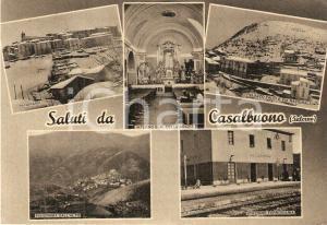 1961 CASALBUONO Vedutine Palazzo FALCI Via Nazionale e Stazione *Cartolina FG VG