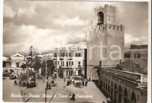 1960 ORISTANO Edicolante in Piazza Roma e Torre San Cristoforo *Cartolina FG VG