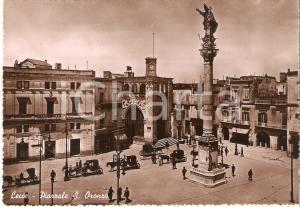 1950 LECCE Carrozze in Piazzale SANT'ORONZO Panorama *Cartolina FG VG