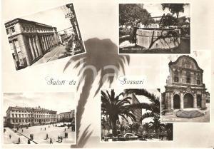 1957 SASSARI Vedutine con fontana di San Francesco e Grattacielo Cartolina FG VG