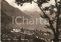 1952 PISOGNE (BS) Panorama del paese con LAGO D'ISEO *Cartolina FG VG