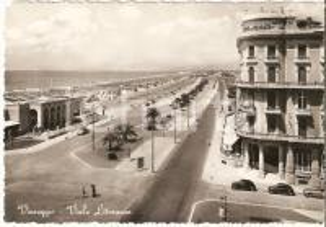 1952 VIAREGGIO (LU) Panorama del Viale Litoraneo *Cartolina FG VG