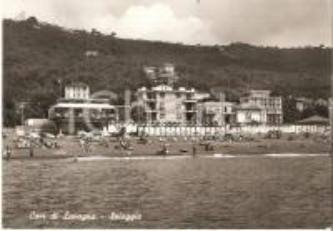 1961 CAVI DI LAVAGNA Panorama spiaggia con bagnanti e cabine *Cartolina FG VG