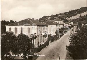 1951 ACQUI TERME (AL) Via Genova e pensioni *Cartolina FG VG