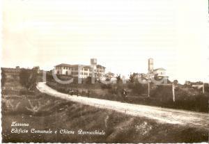 1955 LESSONA (BI) Edificio Comunale e Chiesa Parrocchiale *Cartolina FG VG
