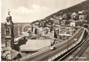 1960 SORI (GE) Automobili sfrecciano sulla strada provinciale *Cartolina FG VG