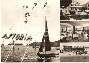 1956 PESARO Vedutine Hotel ASTORIA sul mare - Barche a vela *Cartolina FG VG